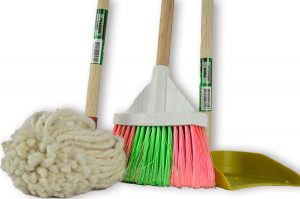 mop, broom, and dustpan, on white background
